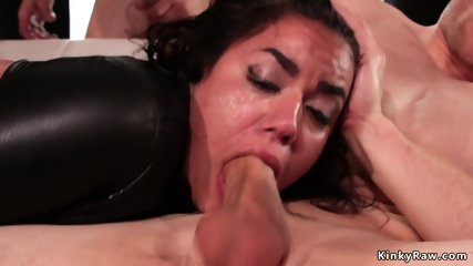 Latina gets gangbang and facial cumshots