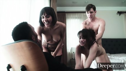 Deeper. Two Girls Get Whipped And Fucked During Kinky Threesome