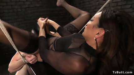 Huge dick ebony Ts anal fucks male slave