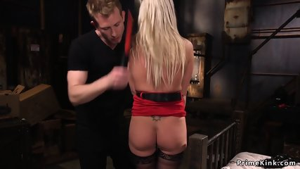 Handcuffed busty blonde anal fucked